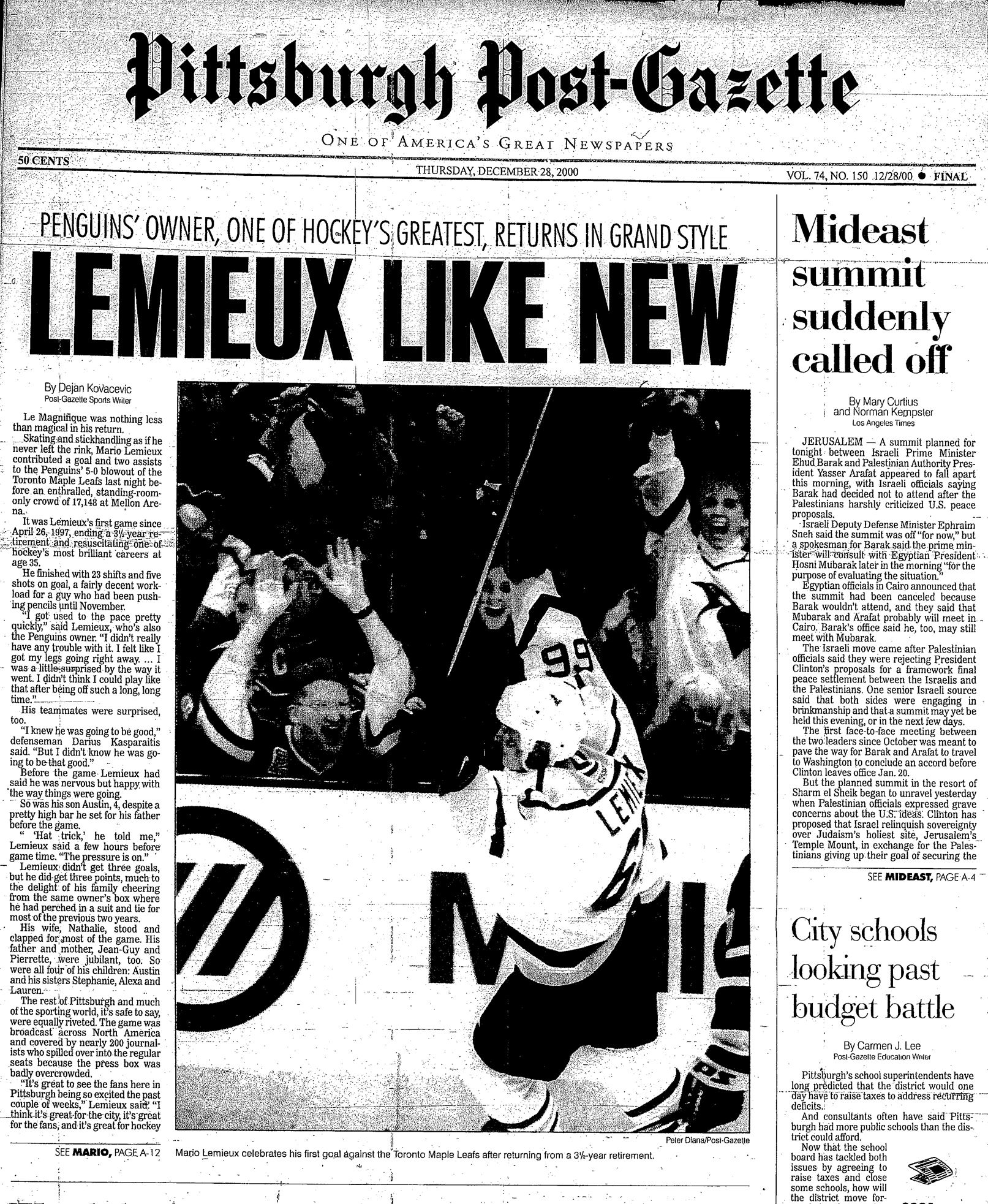 Mario Lemieux's 30 Years Of Highlights: Dec. 27, 2000