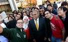 International students at Carnegie Mellon University grab selfies with Subra Suresh, one of a growing group of Indian-American presidents of major universities.