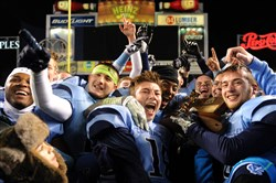 Central Valley teammates celebrate their win over West Allegheny in the WPIAL class AAA championship Friday at Heinz Field.