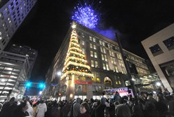 A crowd gathers for last year's Light Up Night festivities Downtown.