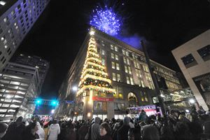 Pittsburgh's 54th annual Light Up Night and the annual lighting of the Highmark Unity Tree with Fireworks.