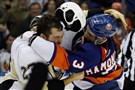 Steve Downie fights the Islanders' Travis Hamonic in the first period Saturday night in Uniondale, N.Y.