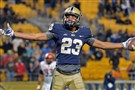 Pitt's Tyler Boyd celebrates a touchdown against Syracuse during a November game at Heinz Field.