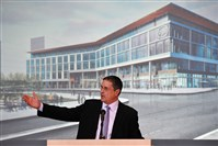 Penguins CEO David Morehouse announces plans for the U.S. Steel headquarters to be built in the Hill District across Centre Avenue near the Consol Energy Center.