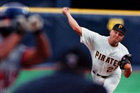 Jason Schmidt pitches against the Montreal Expos in April 1999 at Three Rivers Stadium.