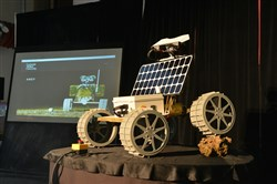 Andy, a four-wheeled robot designed to explore the moon and designed at Carnegie Mellon University, was unveiled on Monday.