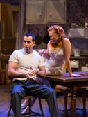 "Stanley (Patrick Jordan) and Stella (Jenna Johnson) in ""A Streetcar Named Desire"" at barebones productions, New Hazlett Theater."