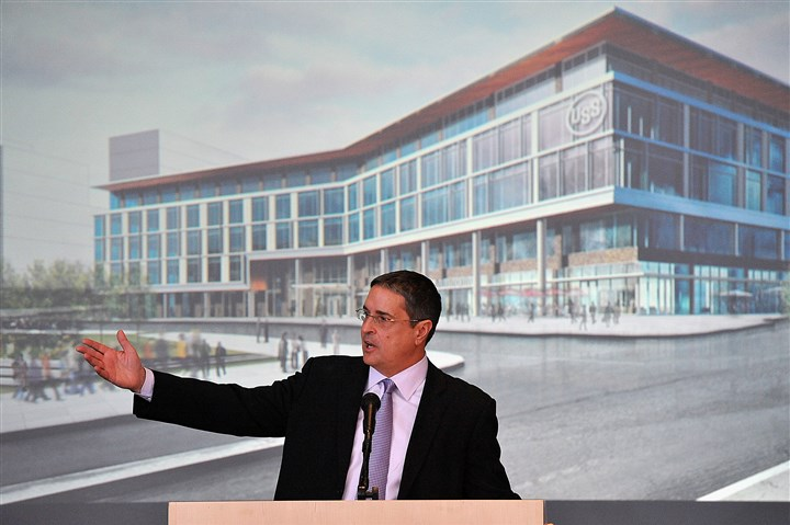 U.S. Steel announcement Penguins CEO David Morehouse on Monday announces plans for the U.S. Steel headquarters to be built in the Hill District across Centre Avenue near the Consol Energy Center.