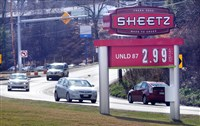 Gas prices at a Sheetz on Pa. Rt. 88 in Bethel Park.