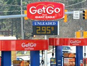 Gas prices at a GetGo station on Route 88 in Bethel Park.