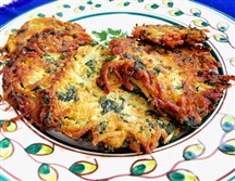 Potato, Spinach and Carrot Latkes.