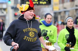 Over 7,500 runners signed up for the 24th annual Turkey Trot supporting the YMCA of Greater Pittsburgh on Thanksgiving morning on the North Shore.