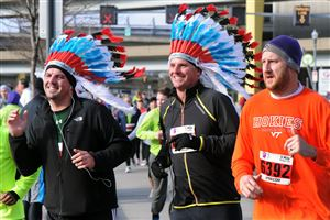 Decked-out runners compete in the Turkey Trot.