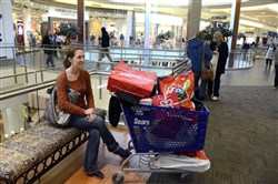 Erin Rayle of Oakdale waits with a shopping cart for her and her family party of five at the Mall at Robinson during last year's Black Friday.