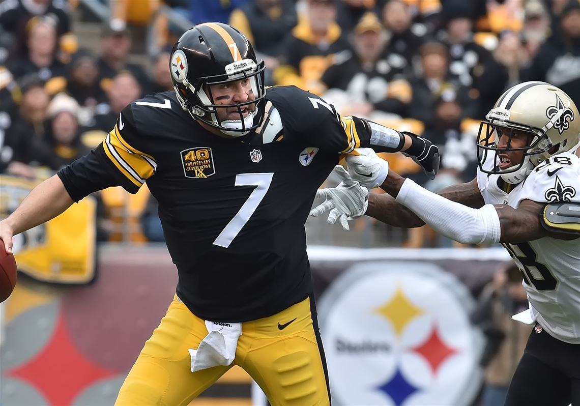 0f63e1133af Steelers quarterback Ben Roethlisberger is pressured by the Saints Keenan  Lewis in the first half Sunday