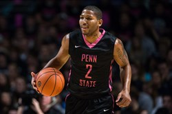 Former Penn State guard D.J. Newbill sports a pink-and-black uniform in 2014.
