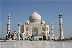 The Taj Mahal built by the Mughal emperor Shah Jahan to memorialize his third wife, who died in childbirth. It was their 14th child.