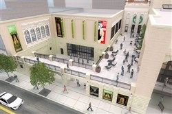 This is an architect's rendering of the new Pittsburgh Playhouse, aerial shot of the colonnade. It is slated to open in fall of 2018