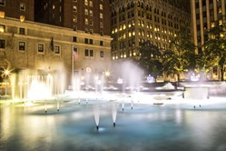 Mellon Square at night.