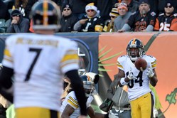 Steelers' Antonio Brown pulls in a pass from quarterback Ben Roethlisberger against the Bengals in the third quarter at Paul Brown Stadium Sunday afternoon.