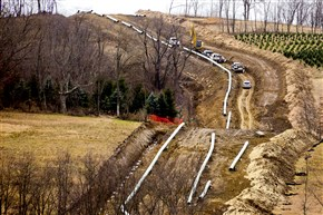 A pipeline is under construction on a hillside in Buffalo Township near I-70 in Washington County.