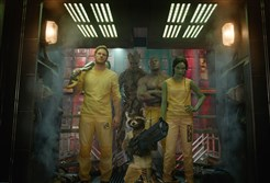 "From left, Star-Lord/Peter Quill (Chris Pratt), Groot (Voiced by Vin Diesel), Rocket Racoon (Voiced by Bradley Cooper), Drax the Destroyer (Dave Bautista) and Gamora (Zoe Saldana) in ""Guardians of the Galaxy.""    ©Marvel 2014"