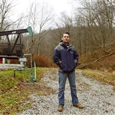 Bradley Bledsoe, vice president of Mountain Energy, on his company's property in Aleppo.
