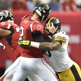 Steelers linebacker Jason Worilds was called for roughing the passer after this big hit on quarterback Matt Ryan.