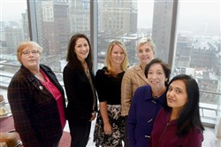 From left to right, Tonya Snyder, of BNY Mellon, Justine Patrick, Jayme Butcher, Jennifer Smokelin, Carolyn Duronio, all of Reed Smith, and Shefali Shah of BNY Mellon.