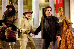 "Running around in ""Night at the Museum: Secret of the Tomb"" are, from left, Patrick Gallagher as Atilla the Hun, Robin Williams as Teddy Roosevelt, Ben Stiller as Larry Daley and Rami Malek as Ahkmenrah."