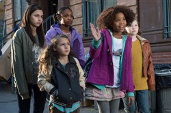"The foster children in ""Annie"" are, from left, Amanda Troya,  Nicolette Pierini, Eden Duncan-Smith, Quvenzhane Wallis and Zoe Margaret Colletti."