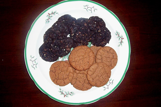 Chocolate-Hazelnut Cookies (the lighter-colored ones) and Chocolate-Toffee Cookies (the darker ones). Christmas cookies