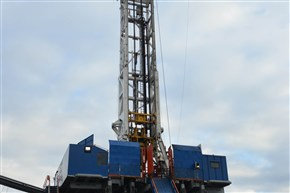 "Consol Energy Inc. is drilling the horizontal portions of six Marcellus Shale wells its first well pad at Pittsburgh International Airport. This horizontal rig drills between 120 feet and 200 feet per hour and ""walks"" to the next well, rather than being taken down every several feet."