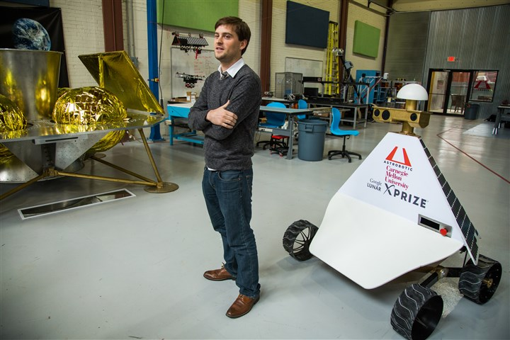 John Thornton, CEO of Astrobotic John Thornton, CEO of Astrobotic, stands in front of the company's Griffin Lander at its headquarters in the Strip District.