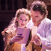 "Lucy Briggs-Owen portrays Viola and Tom Bateman is Will in ""Shakespeare in Love"" at Noel Coward Theatre in London."