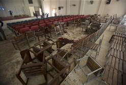 The interior of the Pakistan school where members of the Taliban attacked schoolchildren and staff, killing 148.