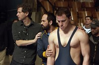 "Director Bennett Miller with Mark Ruffalo and Channing Tatum on the set of ""Foxcatcher,"" most of which was filmed in Western Pennsylvania."