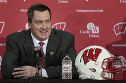 Paul Chryst, Wisconsin's new football coach, speaks during an a NCAA college football news conference at the Nicholas-Johnson Pavilion in Madison