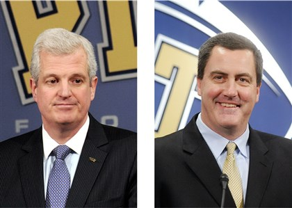 University of Pittsburgh athletic director Steve Pederson, left, was fired Wednesday just as Pitt football coach Paul Chryst, right, announced he was leaving to become head coach at the University of Wisconsin.