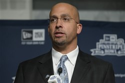 Penn State football head coach James Franklin speaks during a news conference at Yankee Stadium regarding the upcoming Pinstripe Bowl between Penn State and Boston College, Tuesday, Dec. 9, 2014, in the Bronx borough of New York.