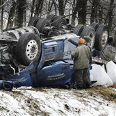 The driver of this truck was killed in 2008 when his rig overturned on Interstate 79.