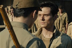 "The Bird (Miyavi) torments Louis ""Louie"" Zamperini (Jack O'Connell) in ""Unbroken."""