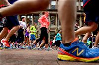 Runners prepare to race at the starting line of the 2014 Pittsburgh Marathon on May 4.