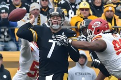 Quarterback Ben Roethlisberger is pressured by Kansas City Chiefs Dontari Poe in the first half at Heinz Field Pittsburgh, Pa