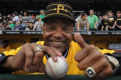 Omar Moreno shows off his 1979 World Series ring and gives the thumbs up during  a ceremony to honor the '79 team before a game last May at PNC Park.