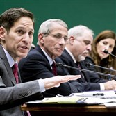 Tom Frieden, far left, director of the Centers for Disease Control and Prevention, testifies at an October hearing, which examined the government's response to contain Ebola, on Capitol Hill in Washington, D.C.