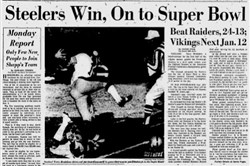The front page of the Post-Gazette from Dec. 30, 1974, after the Steelers defeated the Oakland Raiders for the 1974 AFC championship.