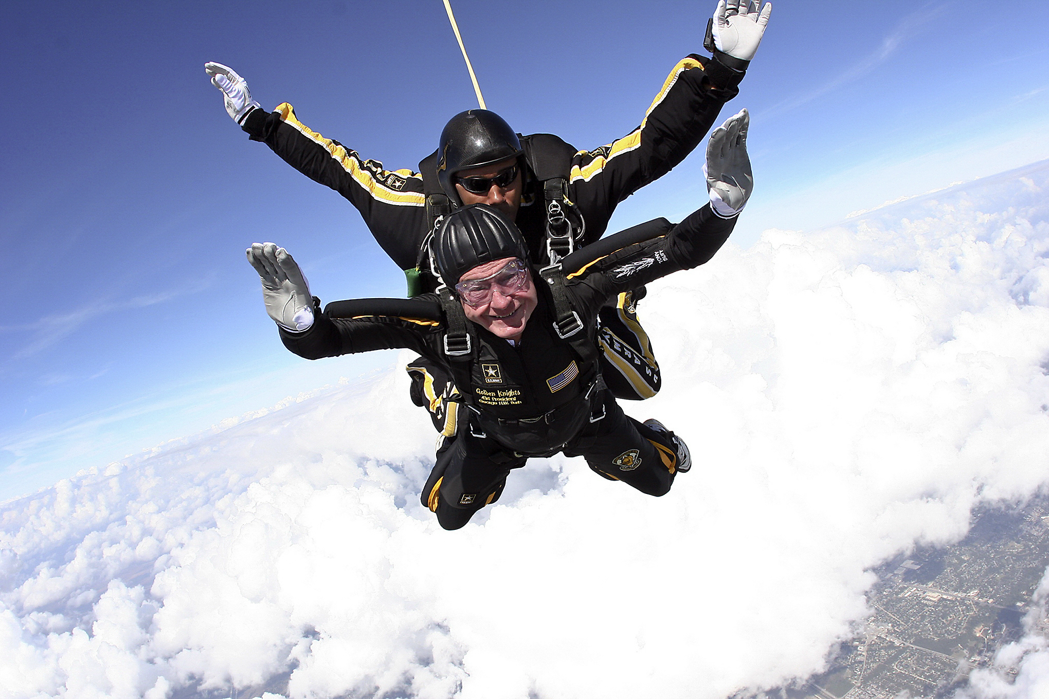 bush599 Former President George H.W. Bush is shown skydiving in his 80s.