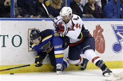 St. Louid' Patrik Berglund is pushed against the boards by Washington's Brooks Orpik, right, in the second period of a game last month.