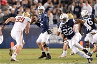 Penn State quarterback Christian Hackenberg looks to pass against the Boston College defense today in the Pinstripe Bowl in New York.
